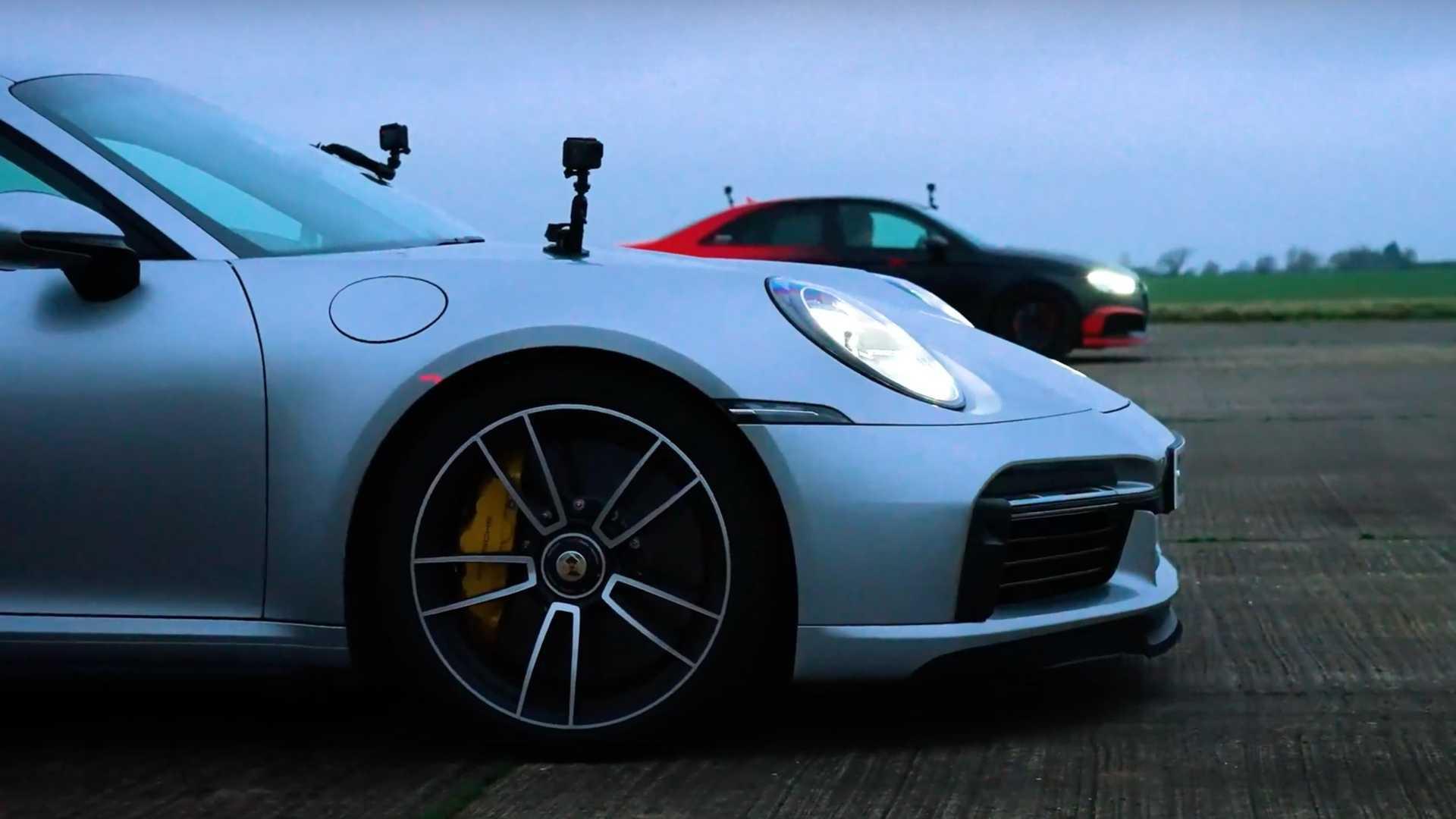 BMW M5 vs Audi RS3 vs Porsche 911 Turbo S fights in 2,450 HP Drag Race