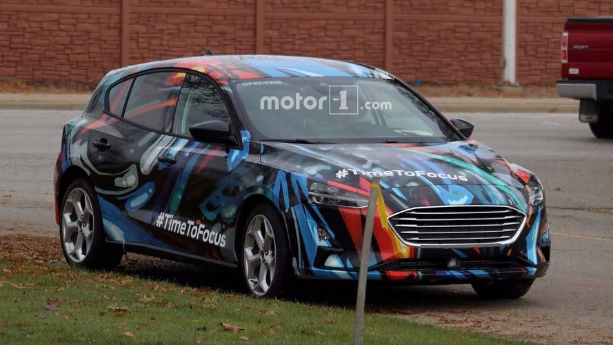 2019 Ford Focus Hatchback Spied Nearly Naked In Funky Camouflage