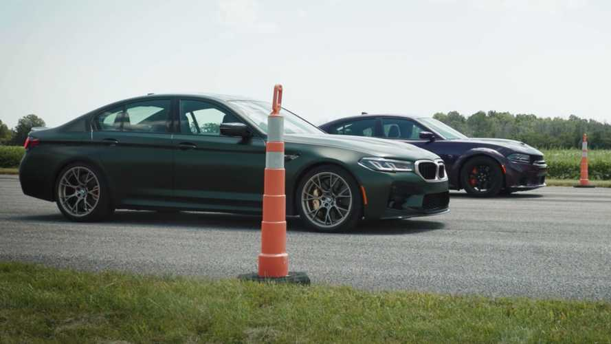 BMW M5 CS lines up against Dodge Charger Hellcat Redeye for drag races