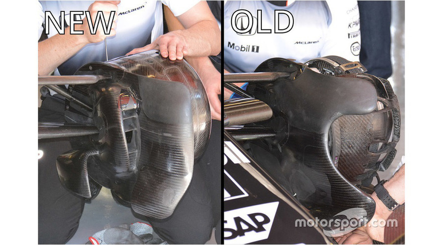 McLaren MP4-31 front brake ducts comparison