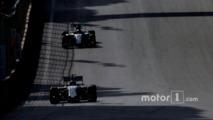 Valtteri Bottas, Williams FW38, leads Lewis Hamilton, Mercedes F1 W07 Hybrid