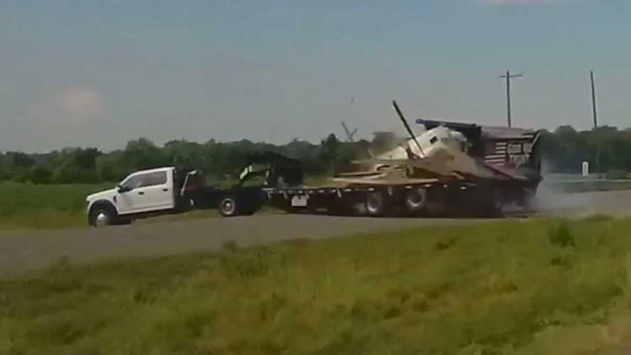 Dump Truck Slams Into Ford Super Duty Trailer As It Crosses The Road