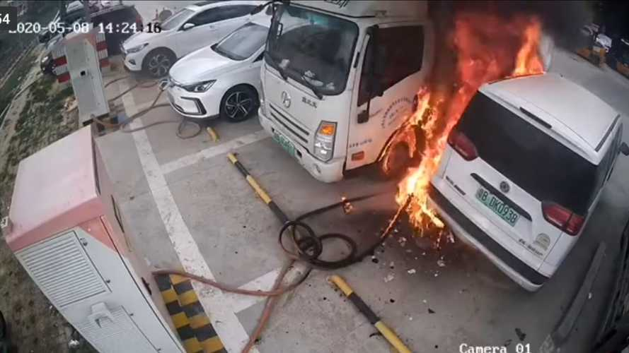 Watch This Severe Electric Car Fire And Explosion At A Charging Station