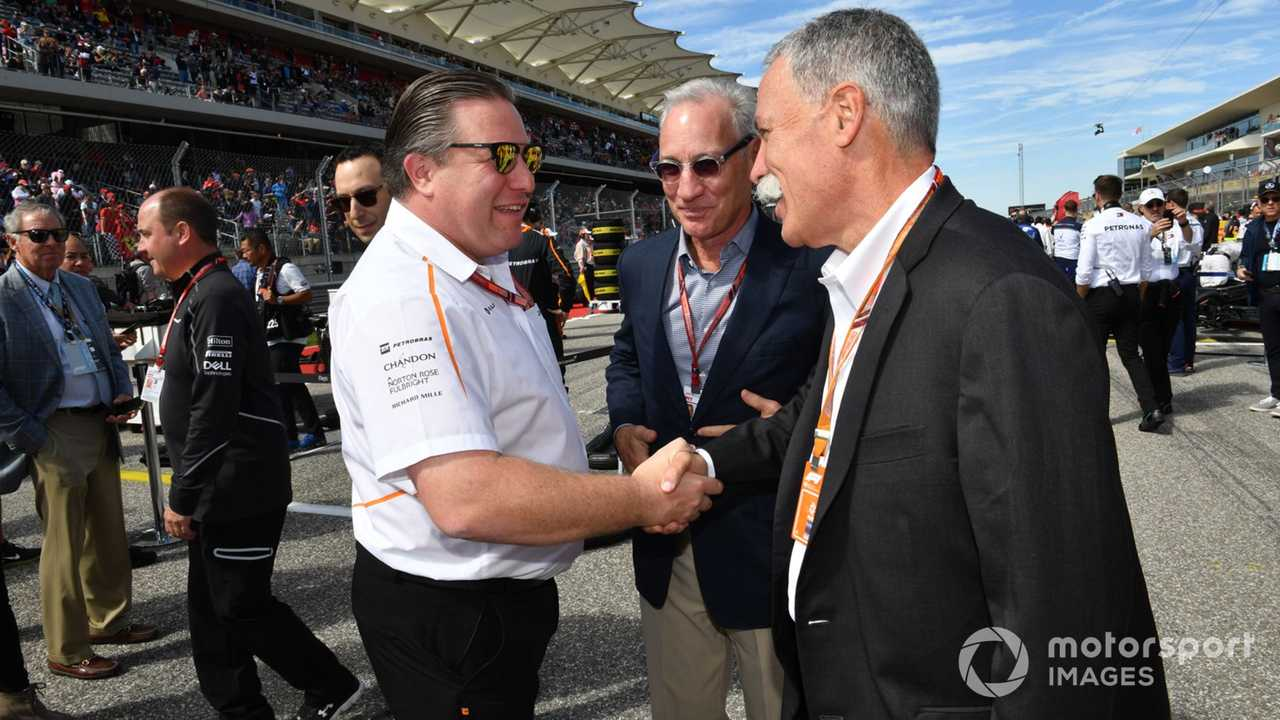 Zak Brown and Chase Carey at US GP 2018