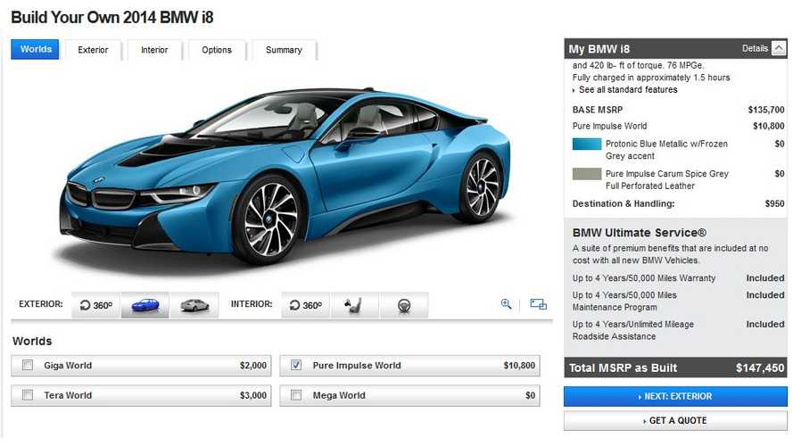 BMW i8 Configurator Charges Up