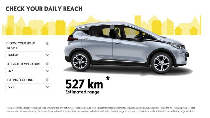 Official Range Calculator For Opel Ampera-E Shows Impact Of Temperature, HVAC Usage