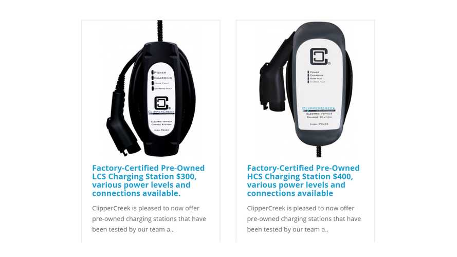 ClipperCreek Now Sells Factory-Certified Pre-Owned EV Chargers