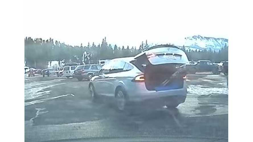 Silver Tesla Model X Spotted With Skis Sticking Out The Back - Video
