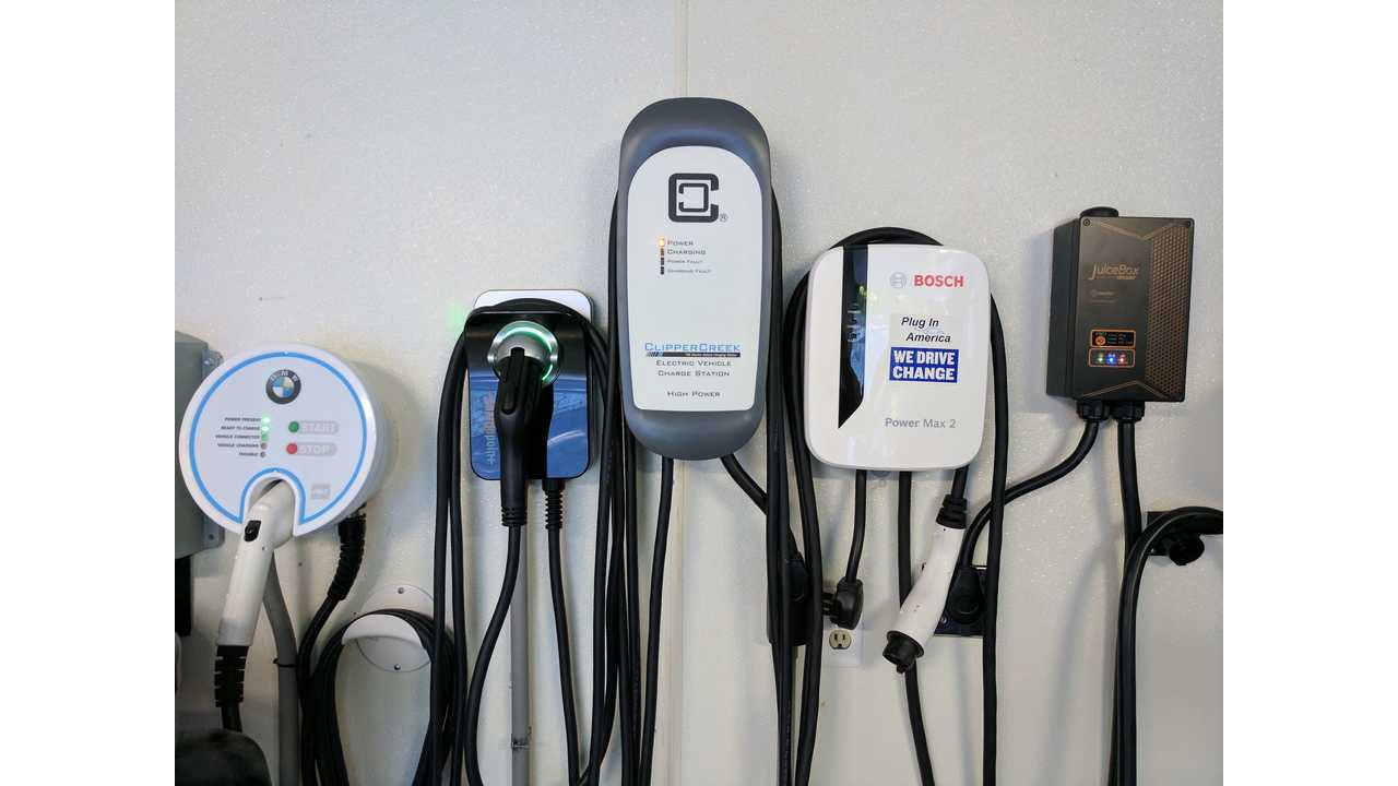 Five popular EVSEs side by side. From left to right: Aerovironment, ChargePoint, ClipperCreek, Bosch & JuiceBox