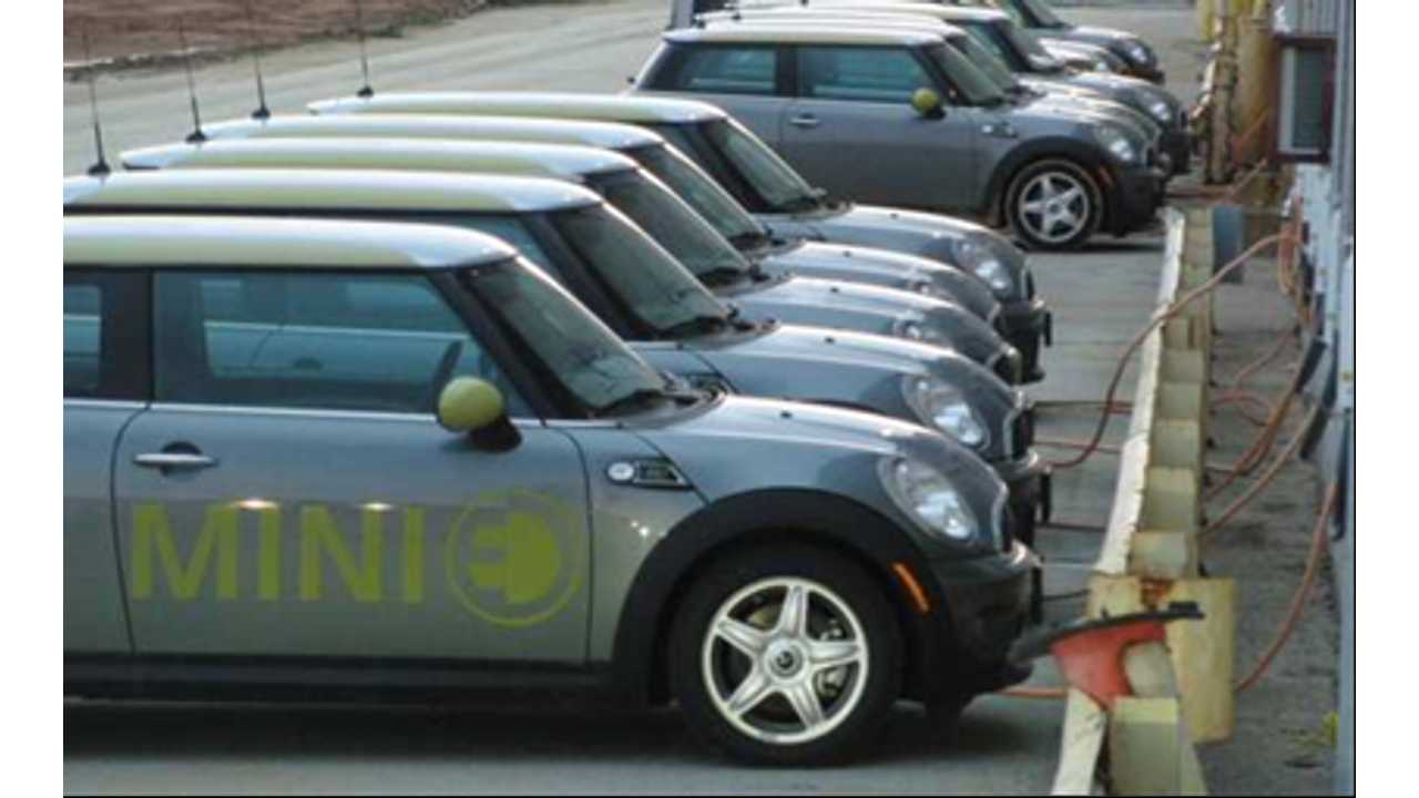 A row of Mini-E's providing balancing services for the grid
