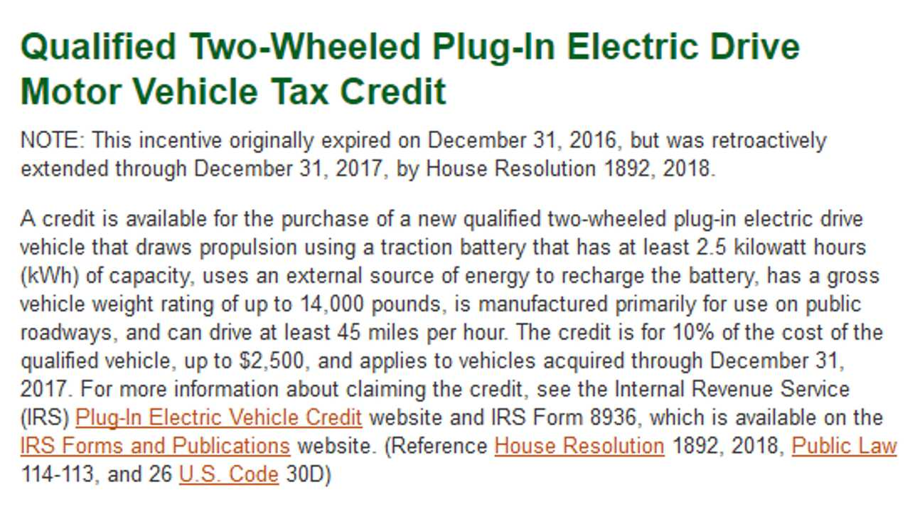 Qualified Two Wheeled Plug In Electric Drive Motor Vehicle Tax Credit
