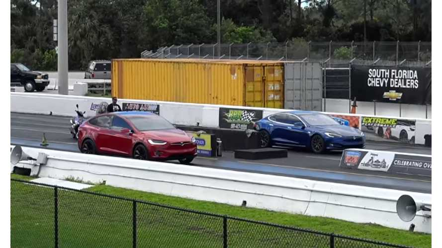 Tesla Model S P100D Versus Model X P90D - Race Video