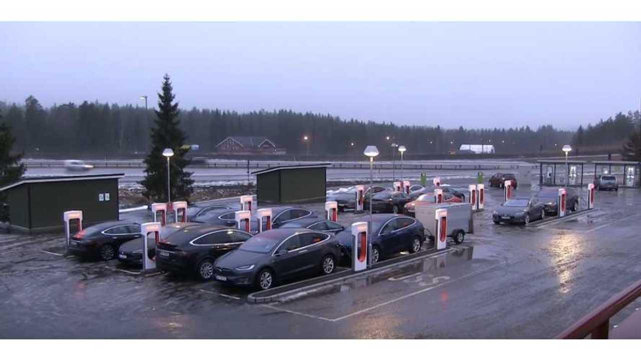 Tesla Supercharger in Nebbenes, Norway (source: Bjørn Nyland)