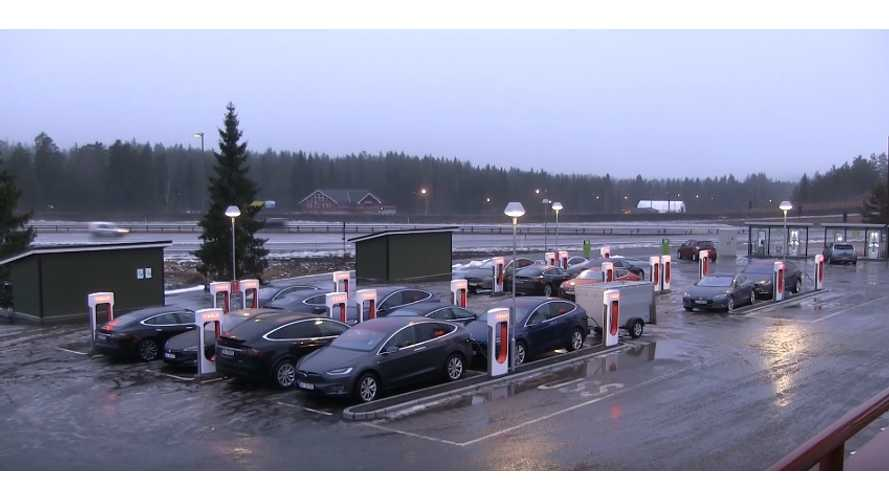 Tesla Supercharger in Nebbenes, Norway (source: Bjørn Nyland)