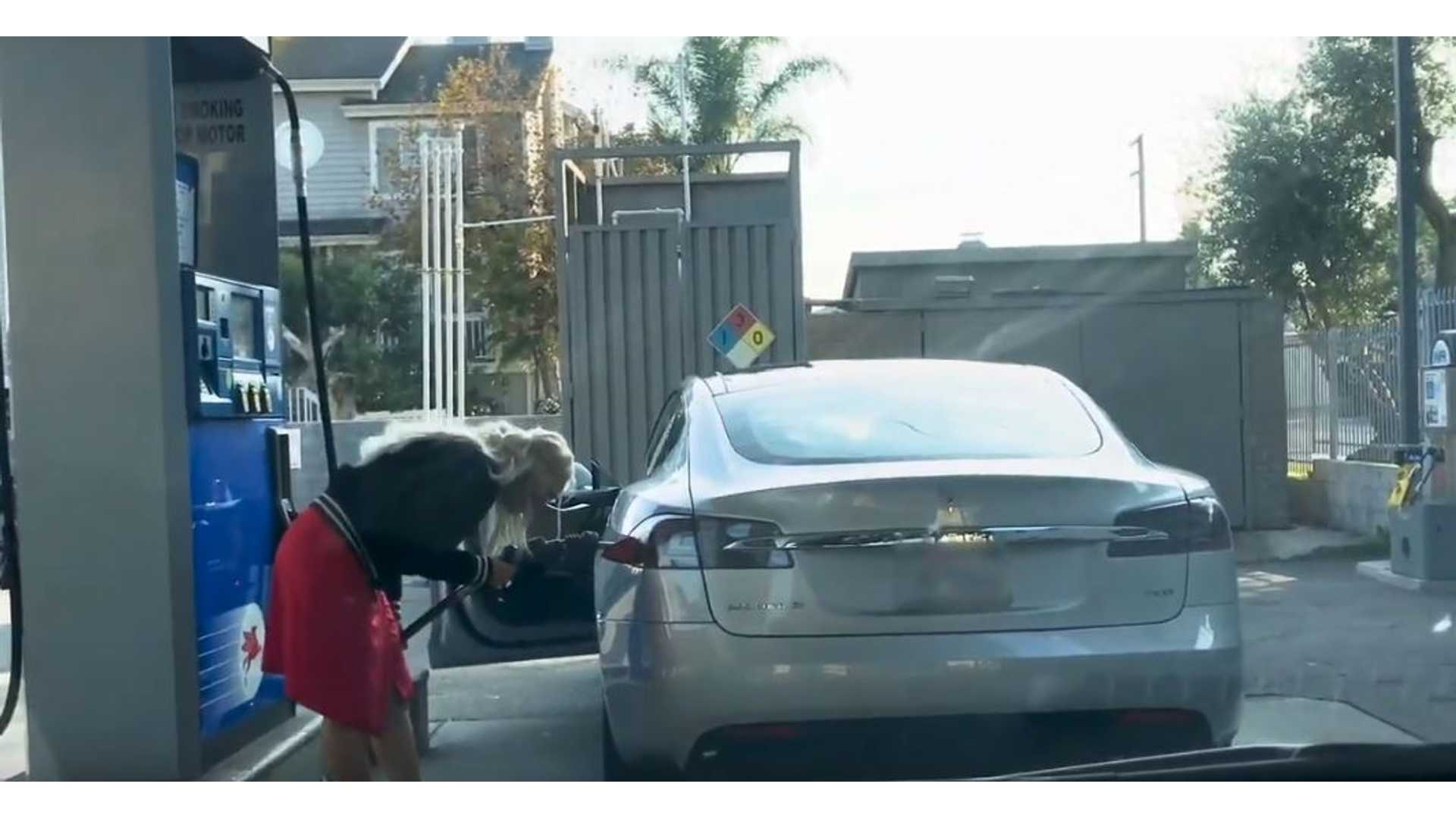 Watch Humorous Failed Attempt To Gas Up A Tesla Model S