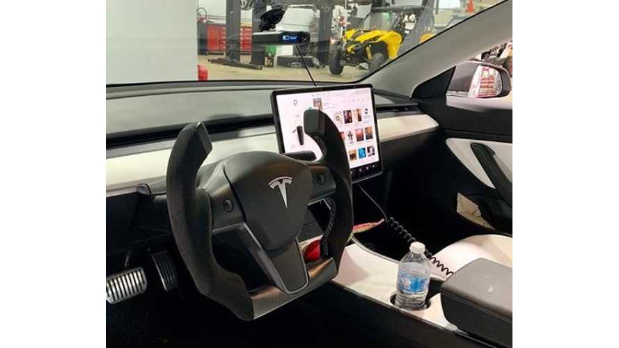 Hot Or Not? Tesla Model 3 With Roadster-Like Cut-Off Steering Wheel