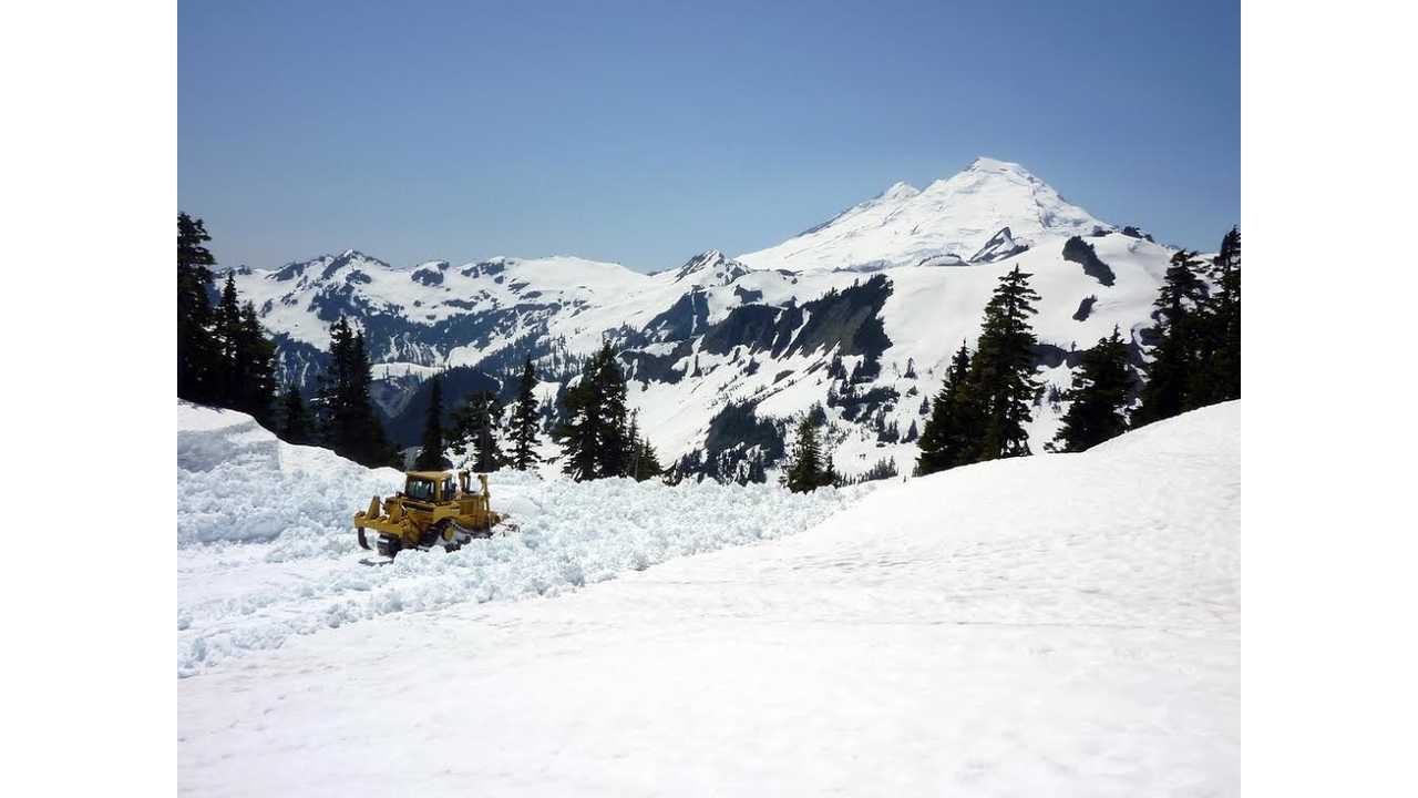 July 2012: clearing the Artist Point parking lot, with Mt. Baker in the background (source: WSDOT).