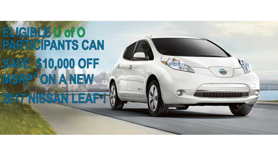 Nissan Now Offering $10,000 Off LEAF Deal For University Of Oregon