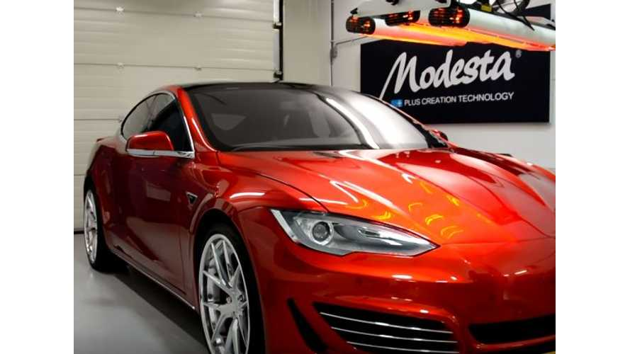 Saleen Tesla Model S Gets Super Glossy Paint Treatment - Video