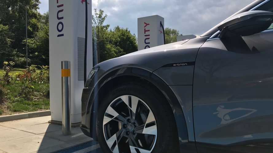Tesla Model 3 & Audi e-tron Charging At IONITY Side By Side: Video