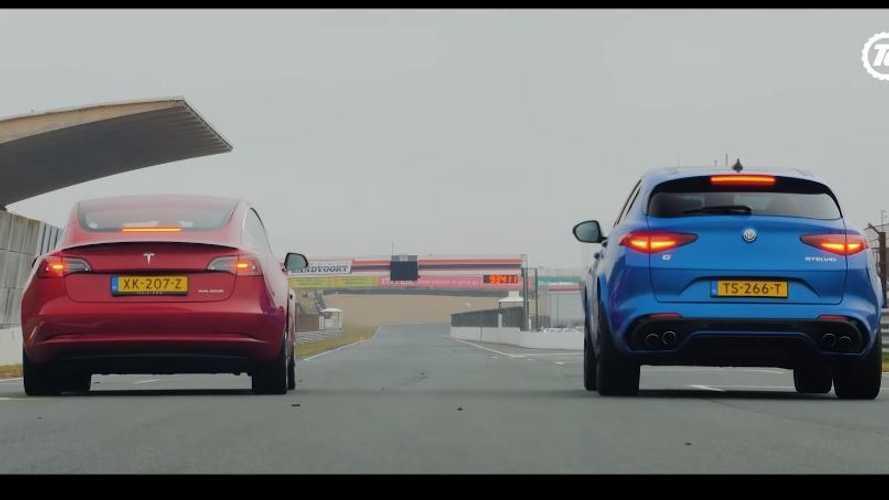 VIDÉO - La Tesla Model 3 cloue le bec à l'Alfa Romeo Stelvio QV