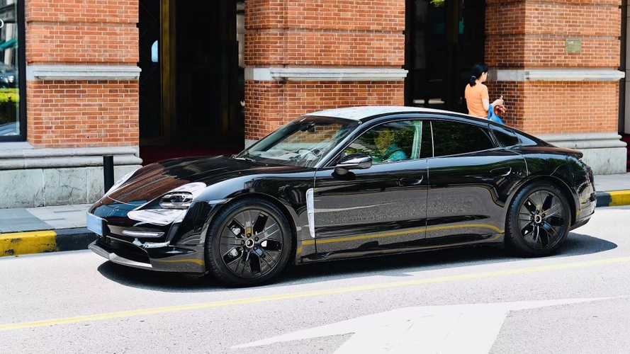 Porsche Taycan Caught Almost Completely Uncovered In Shanghai