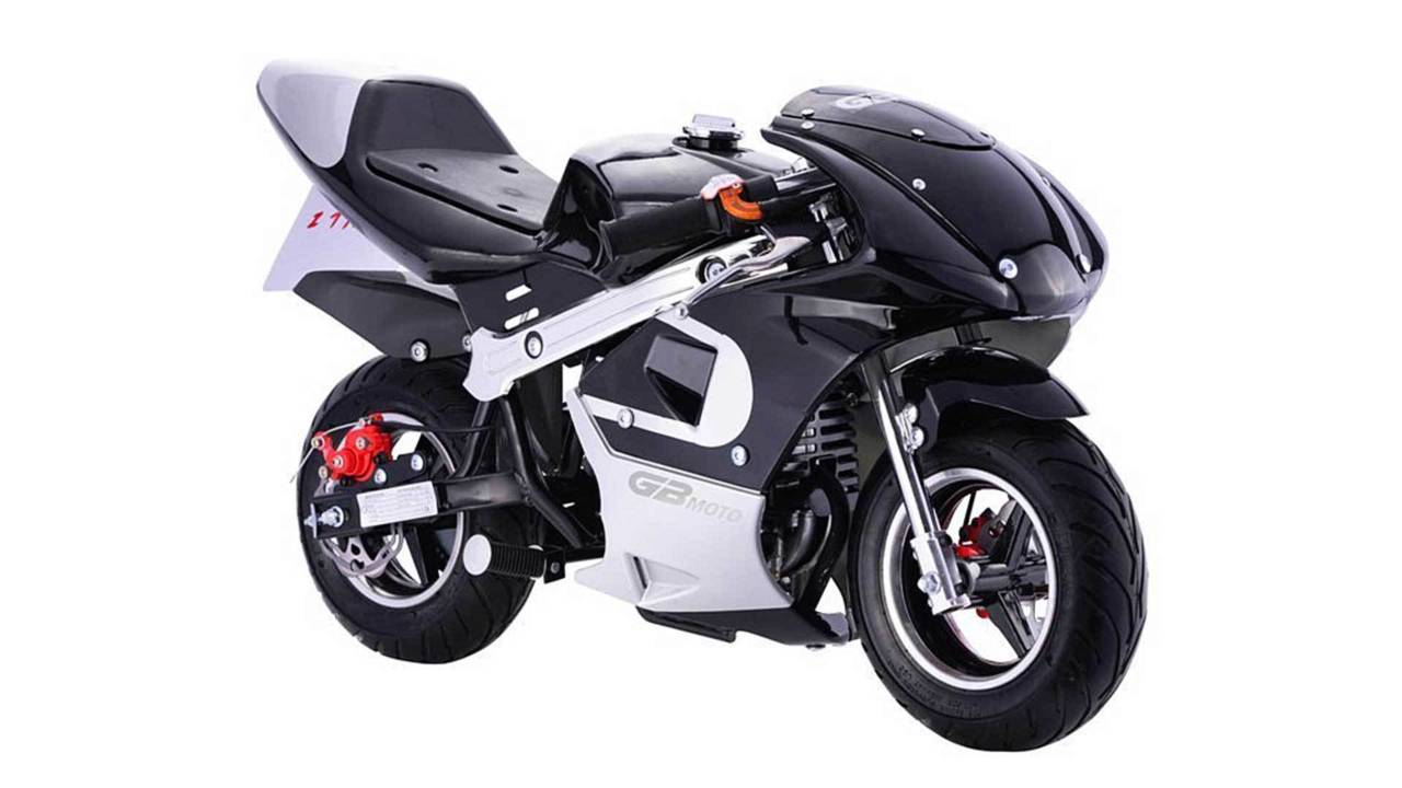 Equipped with a 49cc, two-stroke mill, this GBMoto is typical of pocket sport bikes.