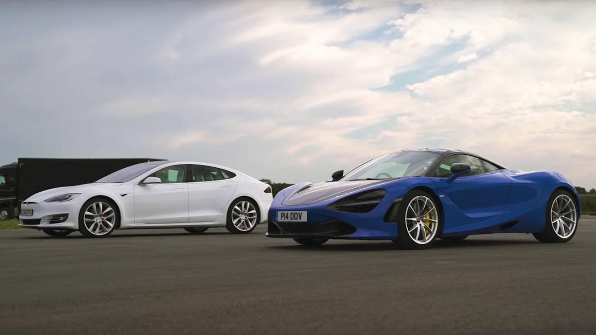 Can Tesla Model S P100D Win Over McLaren 720S On A Drag Strip?