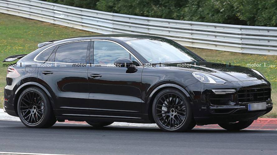 Porsche Cayenne Coupe spied showing active rear wing