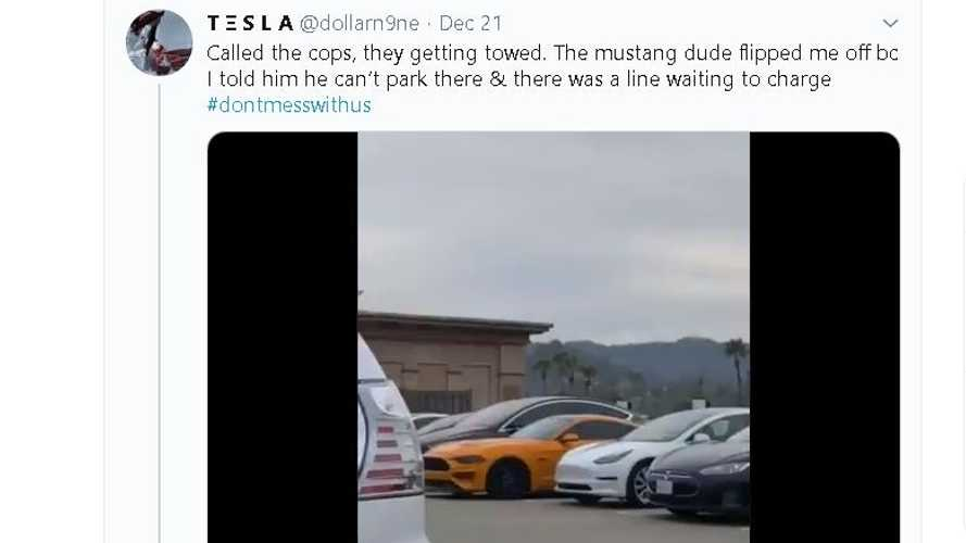 Ford Mustang Ticketed & Towed For Blocking Tesla Supercharger
