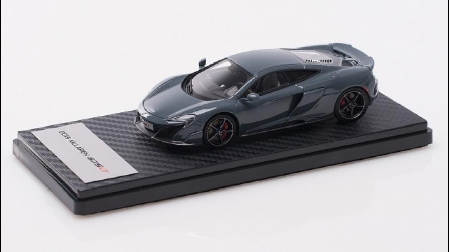 McLaren 675LT,  peso ridotto da 1.230 kg a 0,120 kg