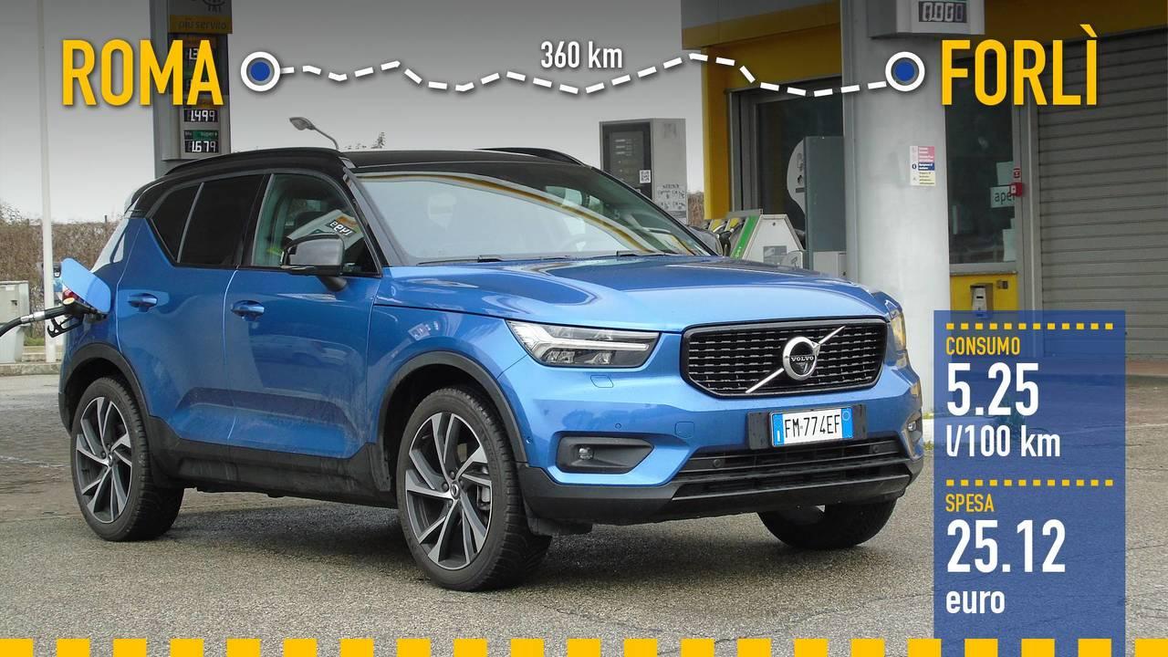 Volvo XC40, la prova consumi