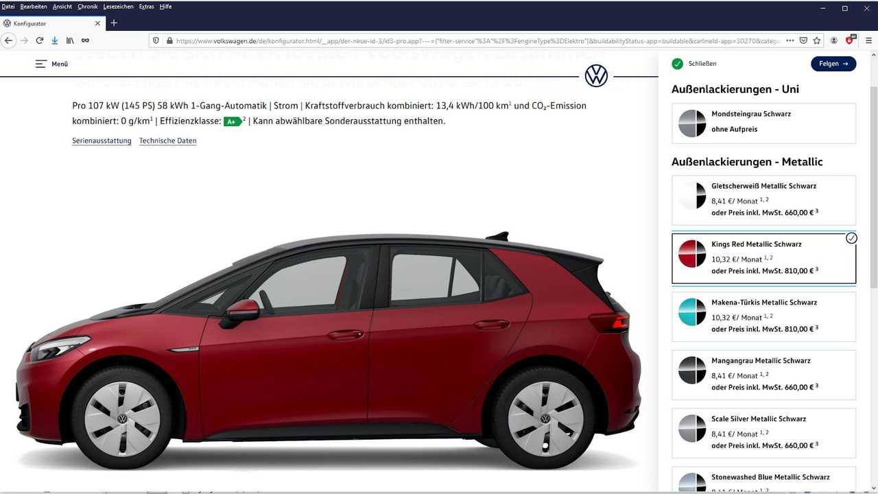 Den VW ID.3 kann man nun auch in Rot bestellen, zudem stiegen die Ladeleistungen