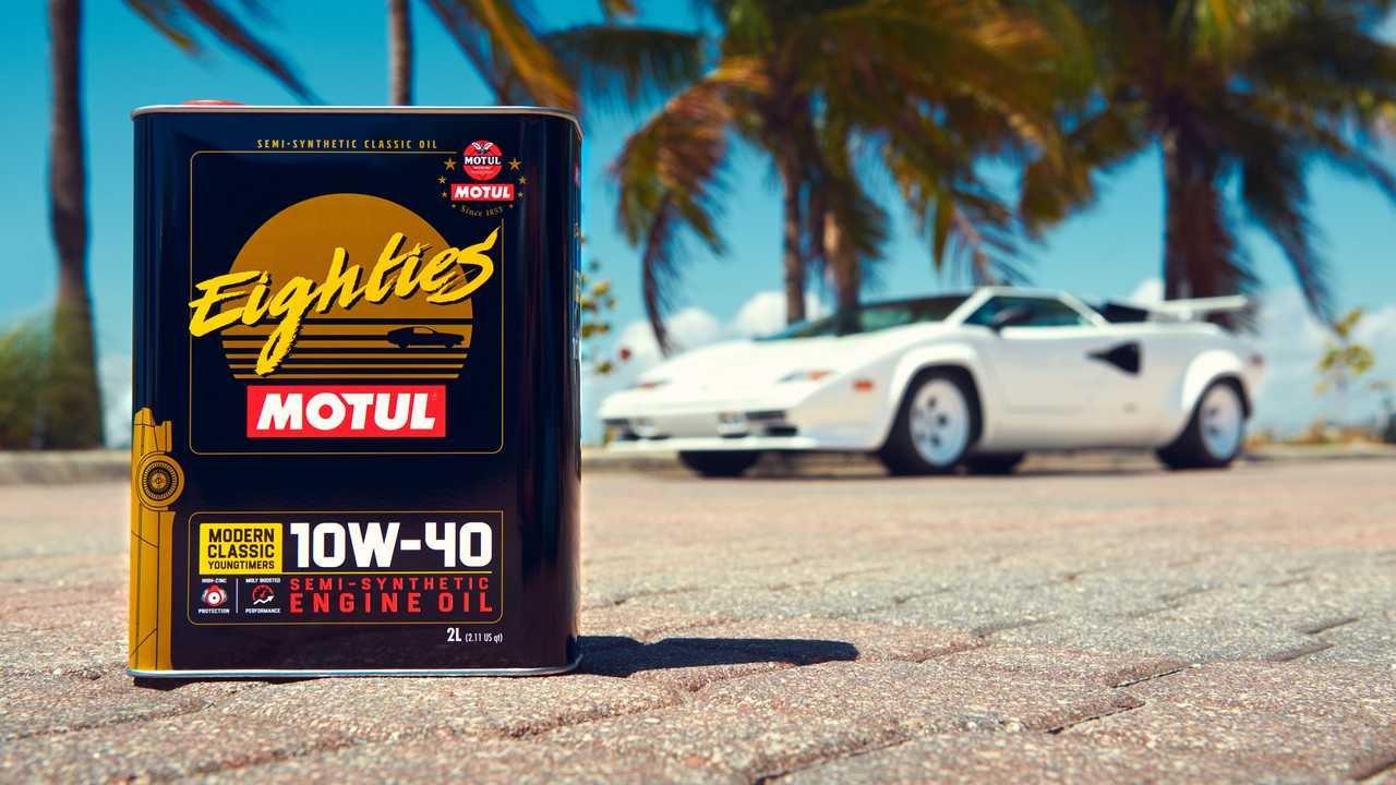 Motul Classic Line Oil Eighties, with a Lamborghini Countach in the background.