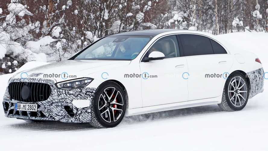 Mercedes-AMG S63e PHEV spied with dice hanging from rearview mirror