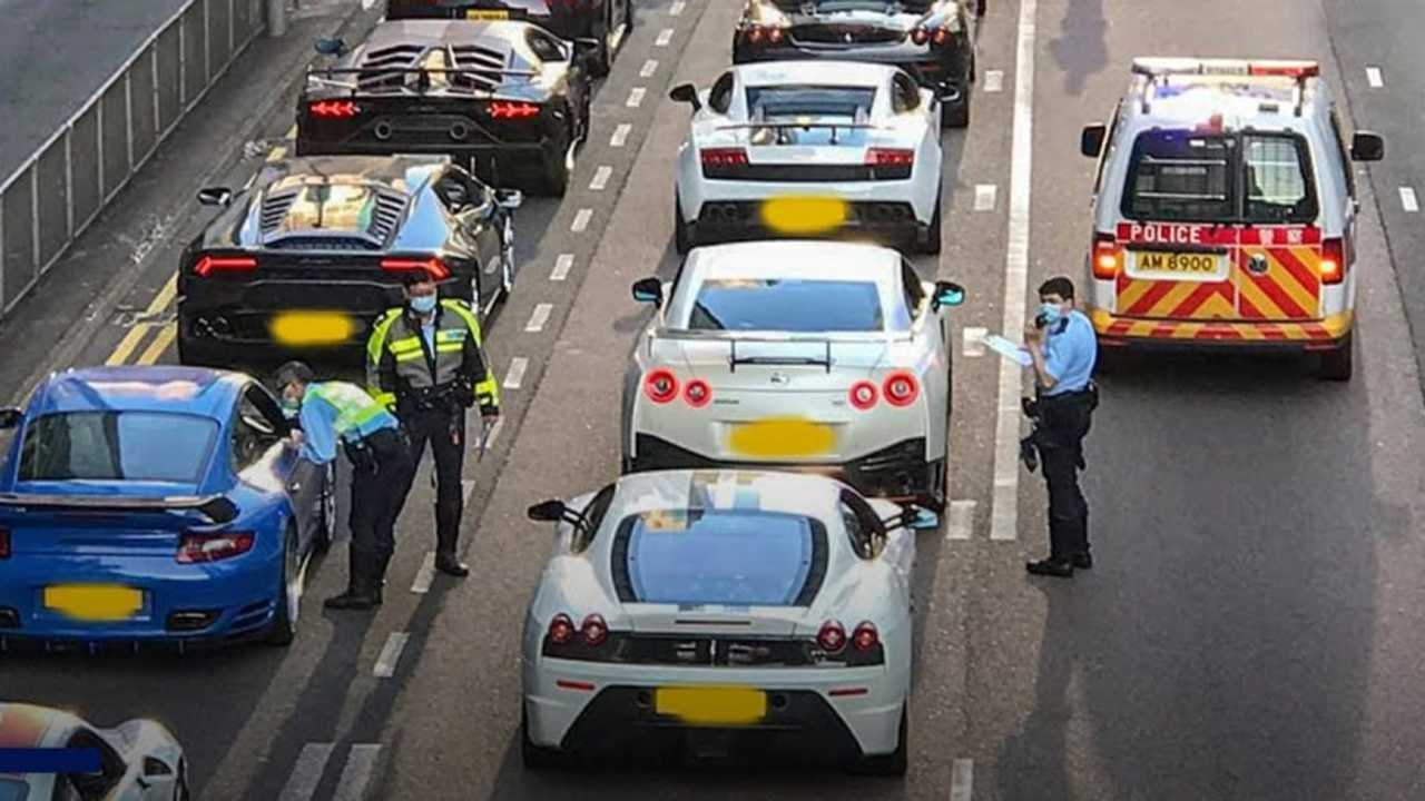 45 supercars pulled over in hong kong