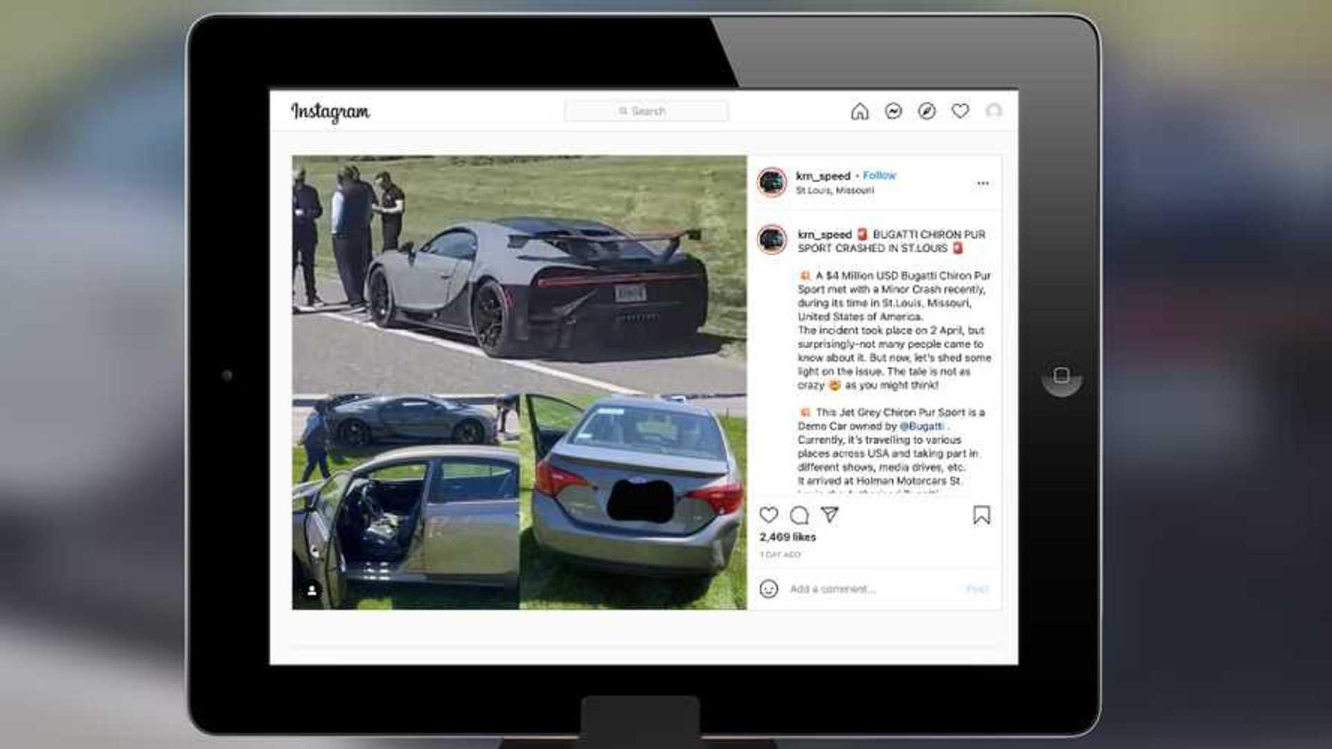 bugatti chiron pur sport crash.