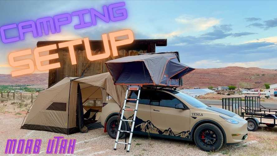 """Tesla e il campeggio """"fotovoltaico"""" sul tetto della Model Y"""