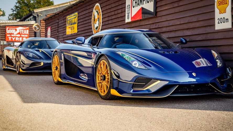 Koenigsegg Regera And Agera RS With Blue Carbon Finish, Gold Accents Meet