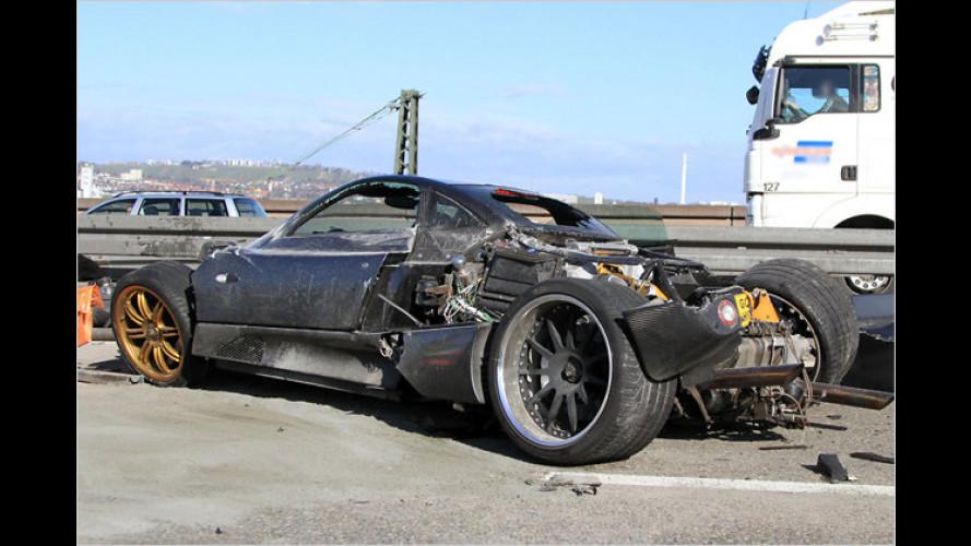 Pagani-Erlkönig: Crash auf der Autobahn