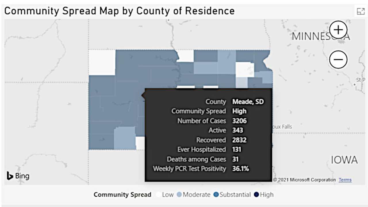 South Dakota Department of Health Screenshot - August 26, 2021