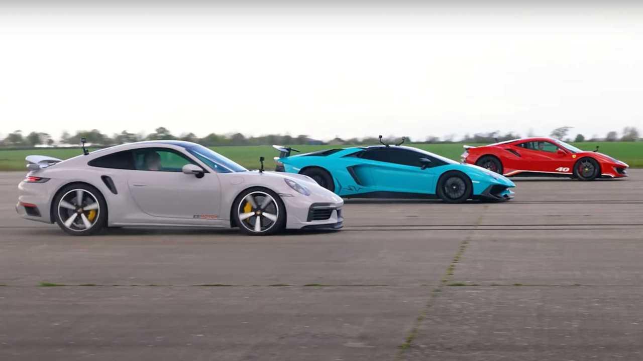 Porsche 911 Turbo S vs Ferrari Pista Piloti vs Lamborghini Aventador SV Drag Race