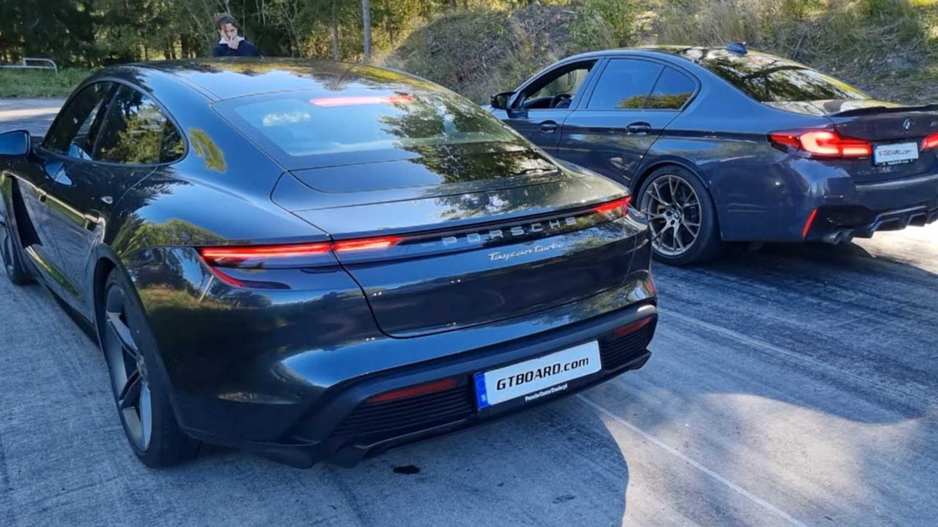 BMW M5 CS Drag Races Porsche Taycan Turbo In Super Sedan Showdown