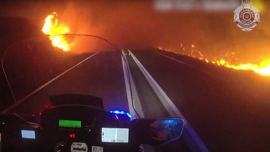 Watch As Aussie Motorcycle Cops Brave Bushfiree To Evacuate Residents