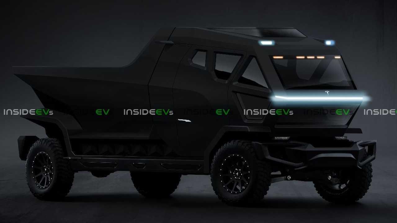 Rendering di camion nero Tesla