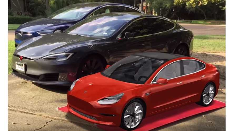 Supersized Augmented Reality Tesla Model 3 - Video