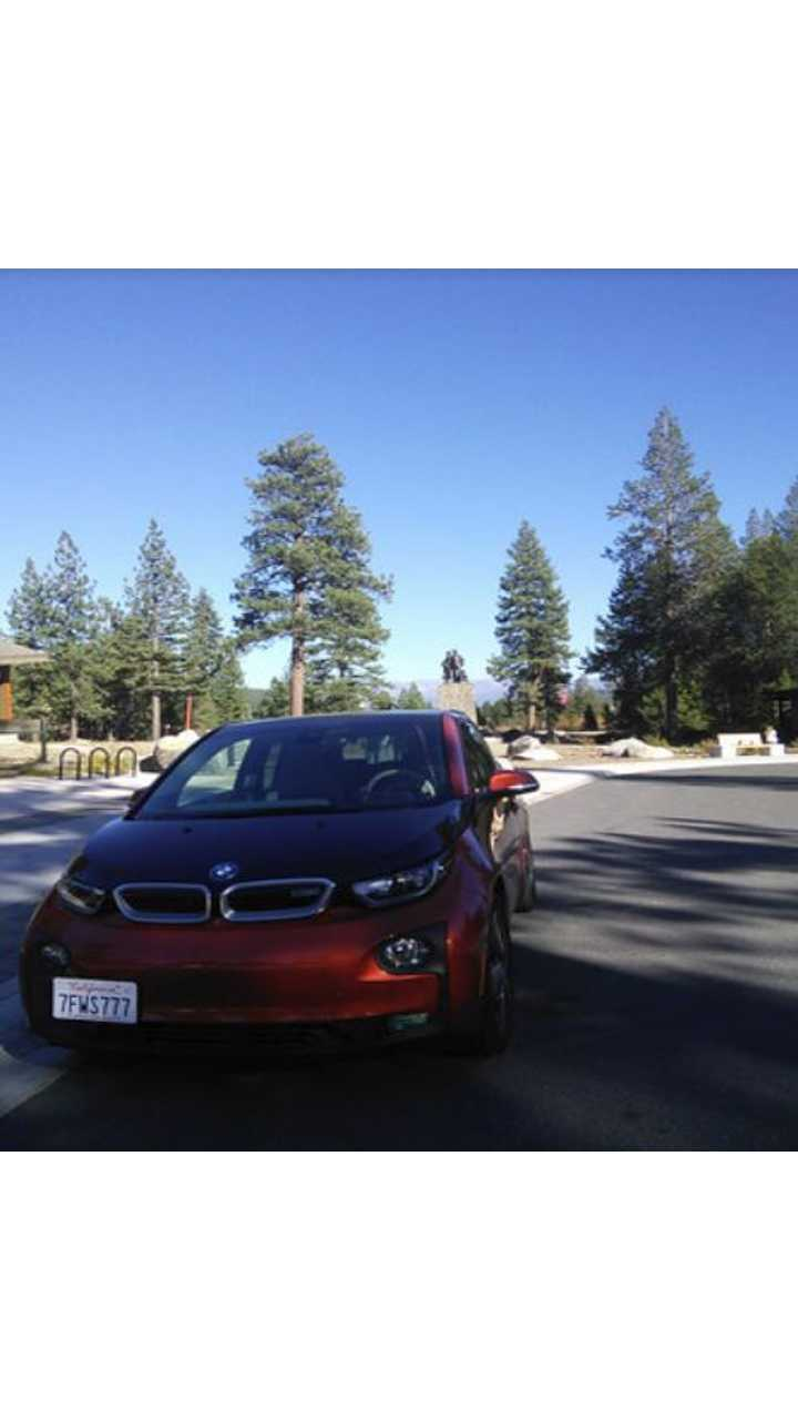 I drive the BMW i3 from my home in Mountain View, California to Donner Memorial Park in Truckee. The state park is placed at one of the sites where the ill-fated Donner Party settled for the winter in 1846. The snow that winter was as high as the memorial behind the i3.