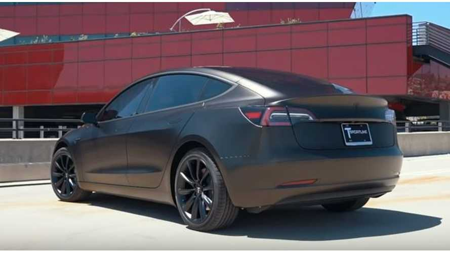 Check Out The World's First Satin Gold Dust Black Tesla Model 3