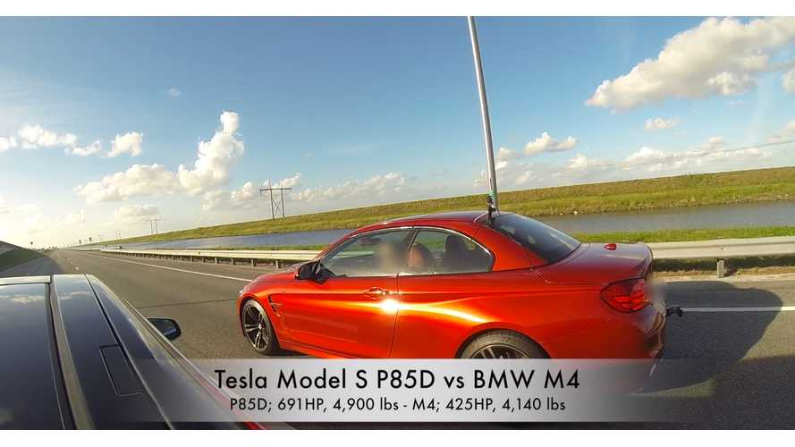 Tesla Model S P85D vs BMW M4 - Race Video