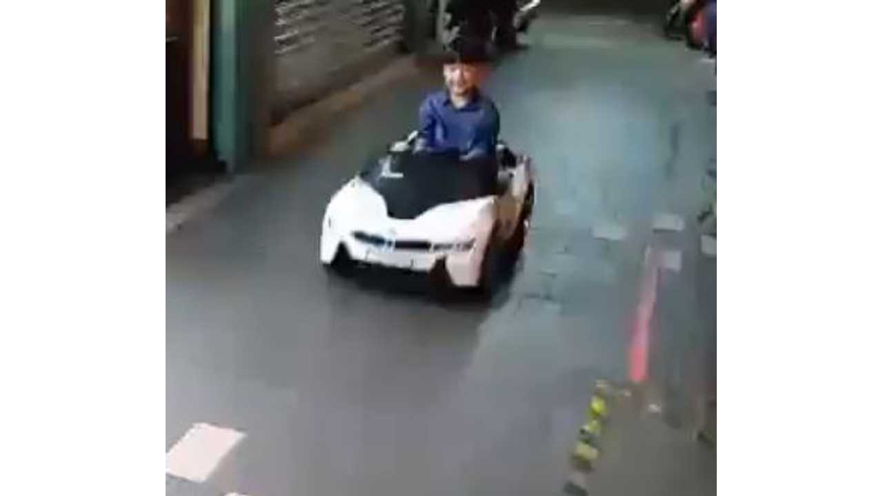 Pure Electric BMW i8 Driven By Kid - Video